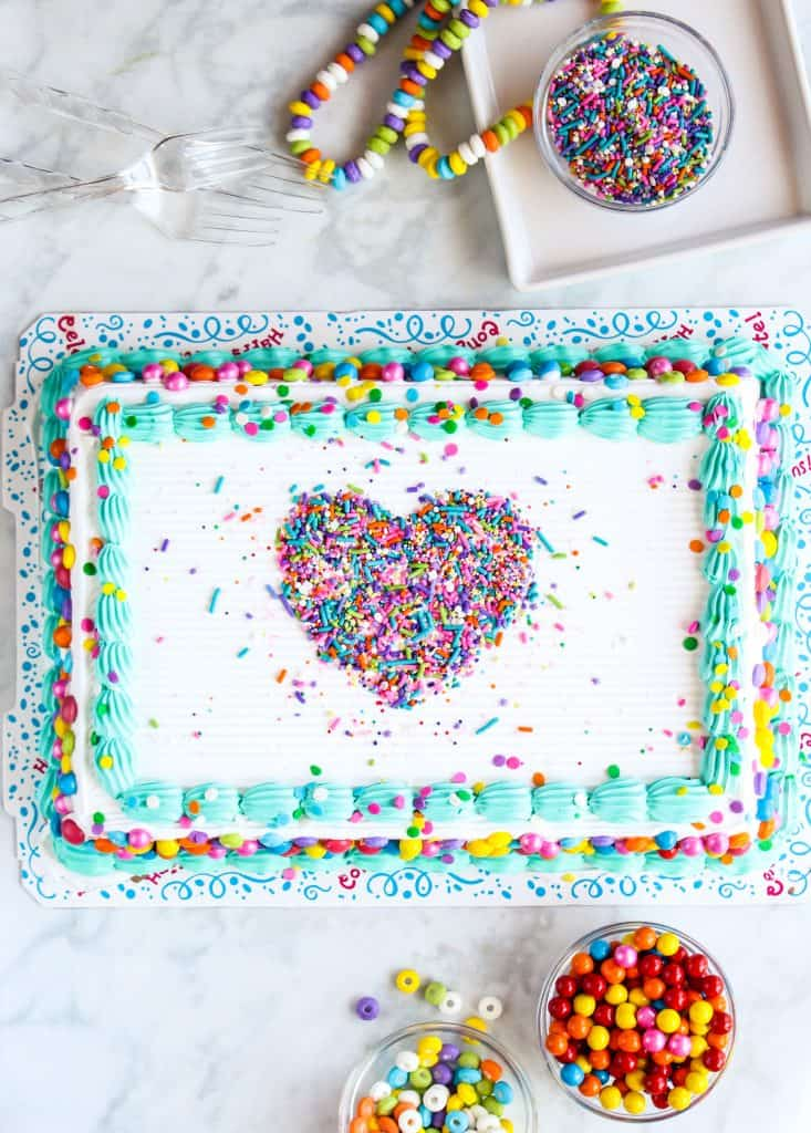 sprinkle cake heart design