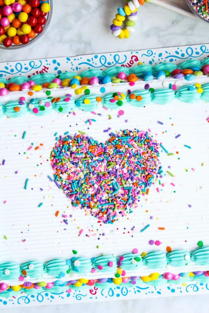 easy stencil heart sprinkle cake
