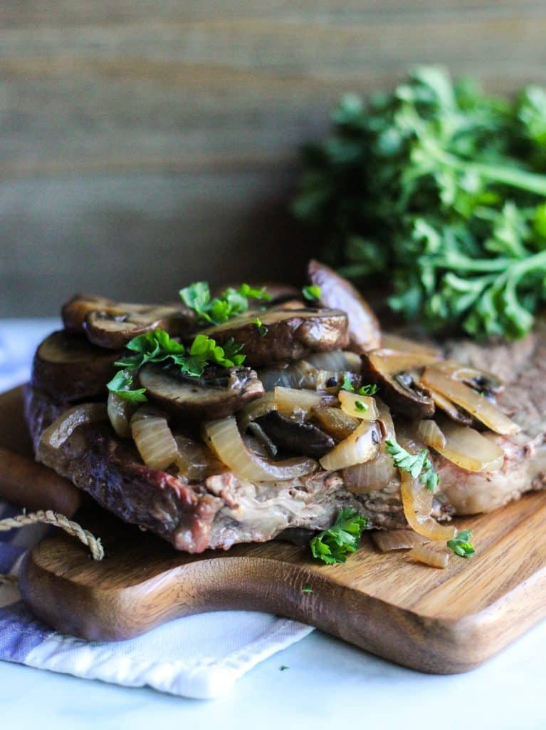 Steak topped with Mushrooms and Onions plus Balsamic Vinegar