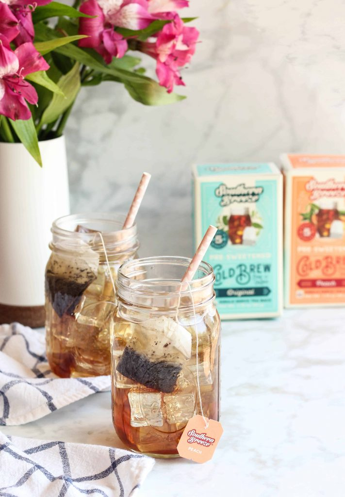 mason jars of iced sweet tea