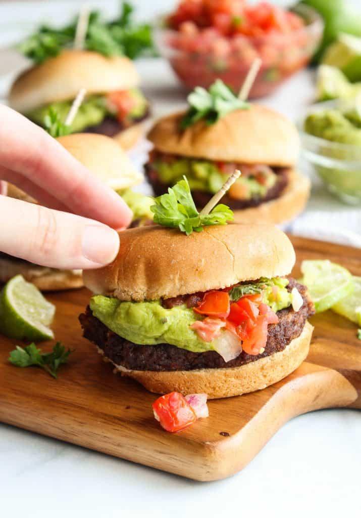 Mexican Guacamole Burger Sliders tex mex dinner