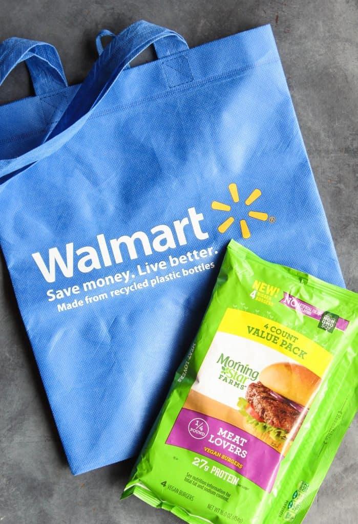 MorningStar Farms Veggie Burgers and Walmart bag