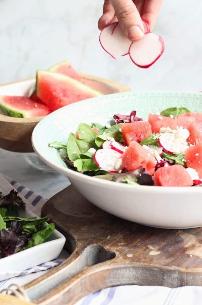 Watermelon, Radish, and Feta Salad, adding radishes