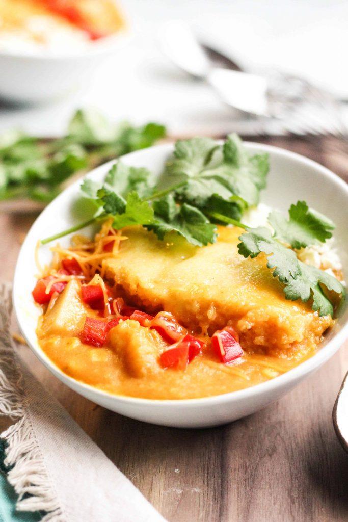 Cornbread-Topped Cheesy Corn and Potato Chowder
