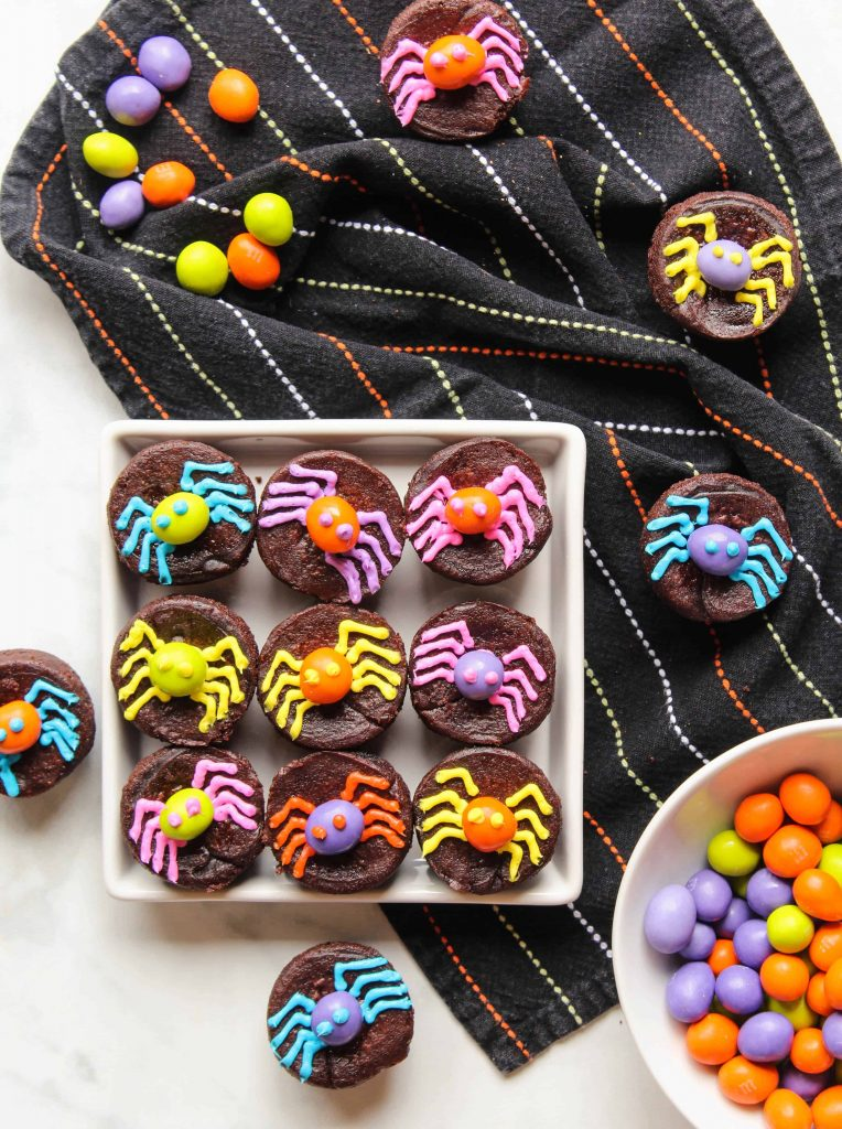Halloween Brownies with neon M&M's® Spiders