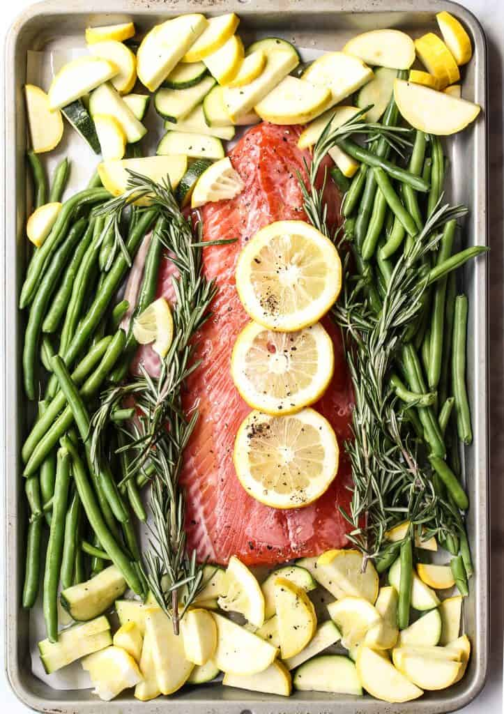 sheet pan salmon with zucchini and lemon ingredients