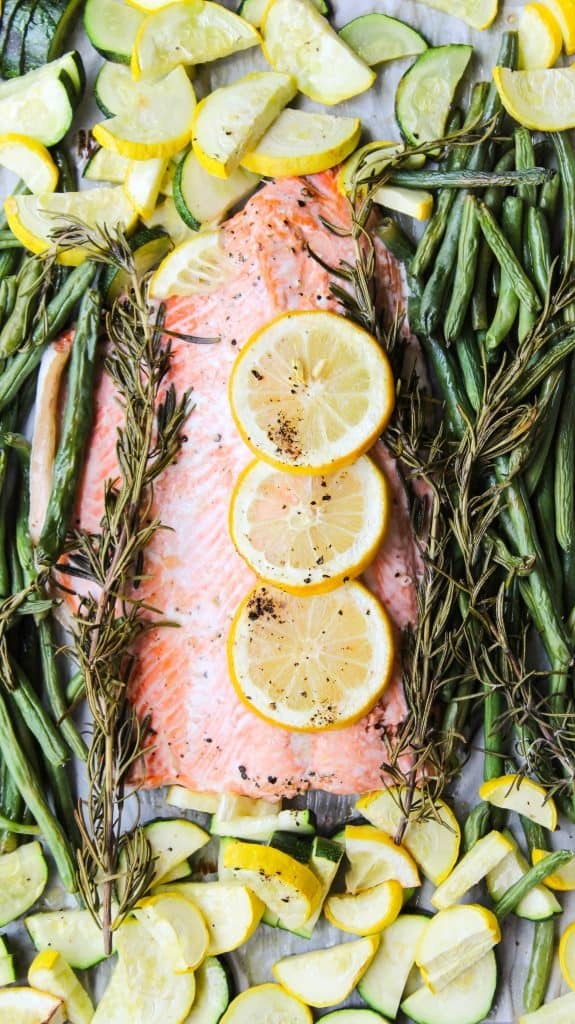 sheet pan salmon with roasted zucchini and lemon