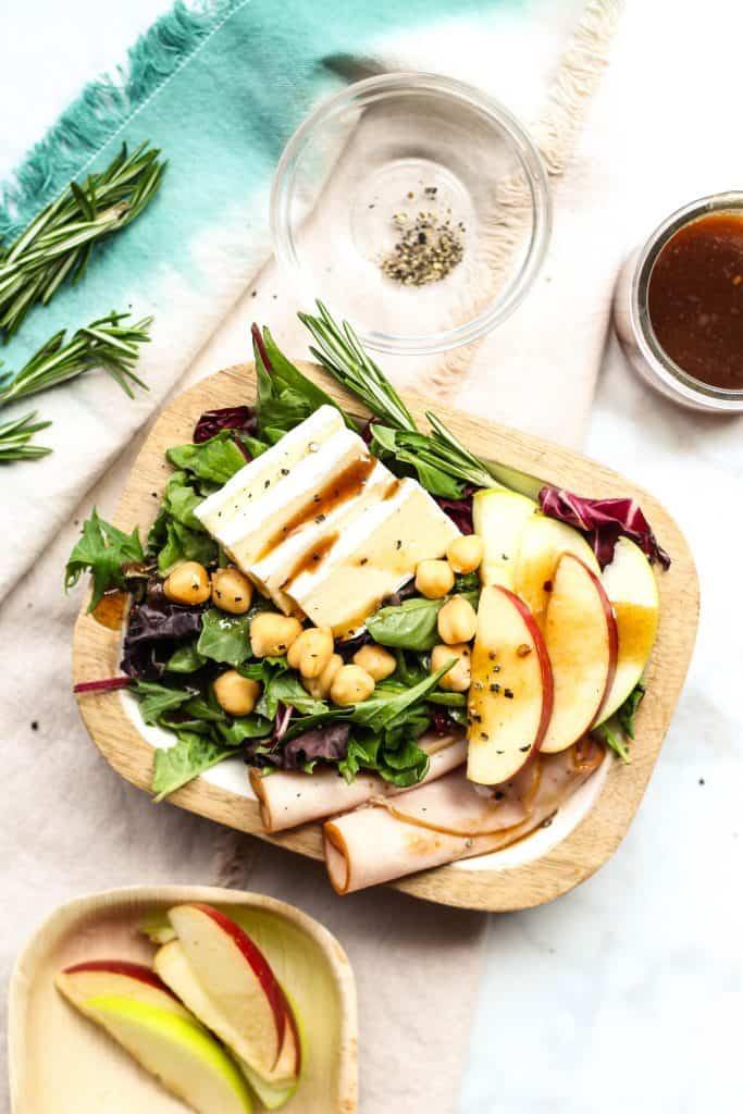 Turkey, Apple, and Brie Salad in a dish