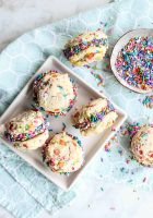 Fruity Pebbles Cookie Sandwiches with Chocolate Frosting