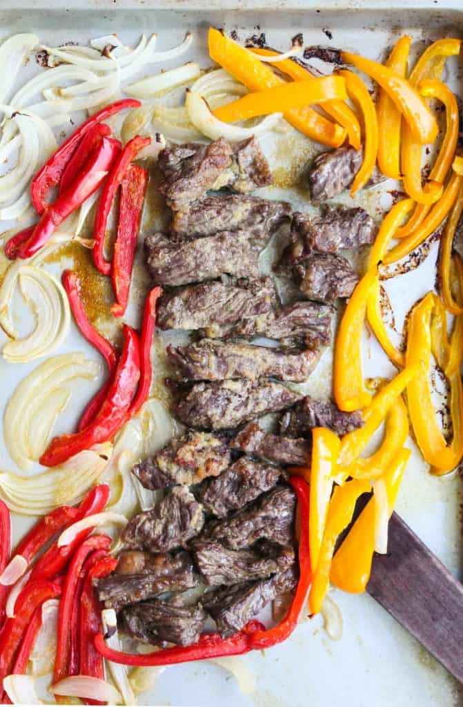 Steak Fajitas cooked on a baking sheet