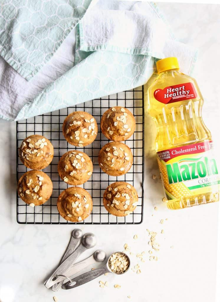 Pumpkin Muffins with Apple Sauce and oats