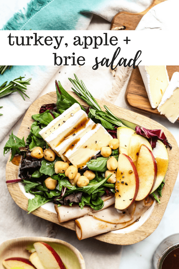 turkey, apple, and brie salad with spring greens and vinaigrette