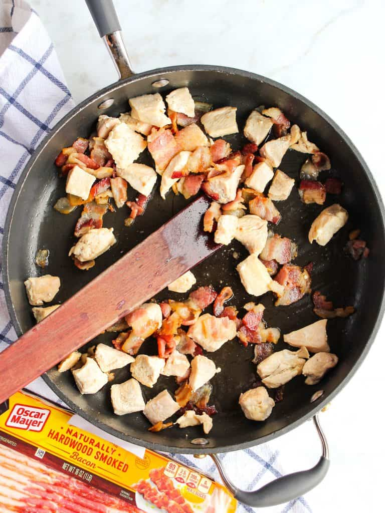 skillet of chopped chicken and bacon