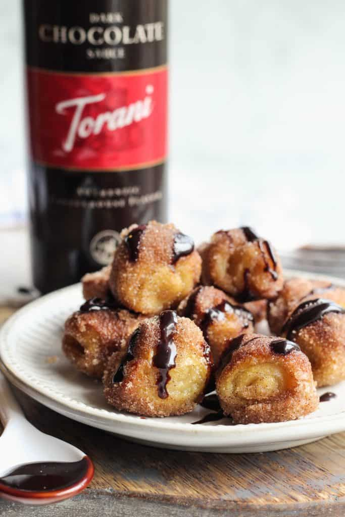 Cinnamon Sugar Pretzel Bites with Torani Dark Chocolate Dipping Sauce