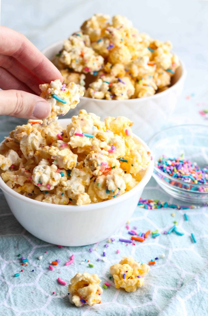 Cake Batter Popcorn in small bowls