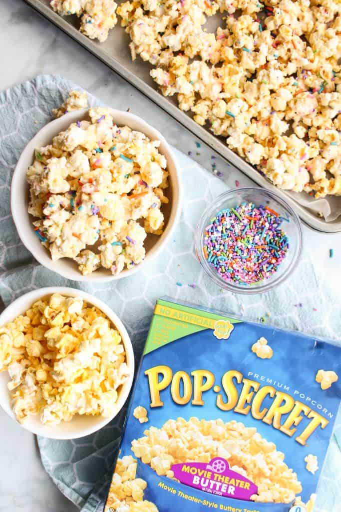 Cake Batter Popcorn with Pop Secret