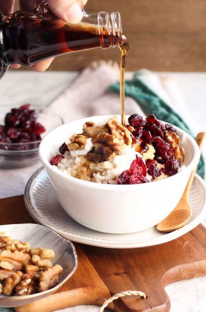Maple Walnut Rice Breakfast Bowl with syrup