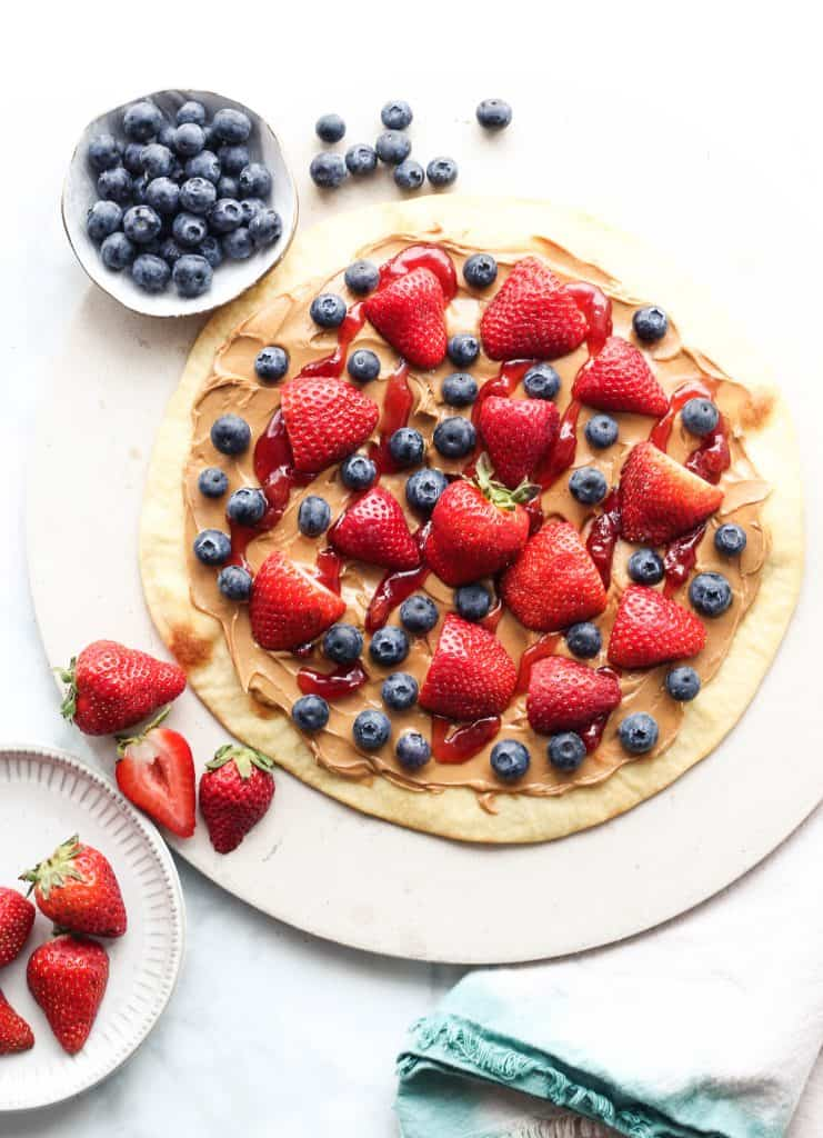 Peanut Butter and Jelly Pizza with berries