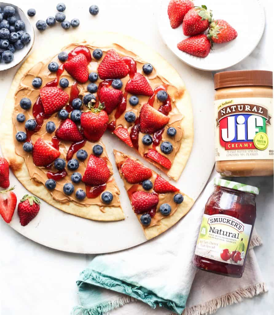 Peanut Butter and Jelly Pizza with Jif and Smuckers