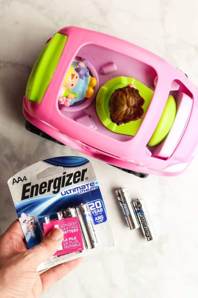 toy car and batteries