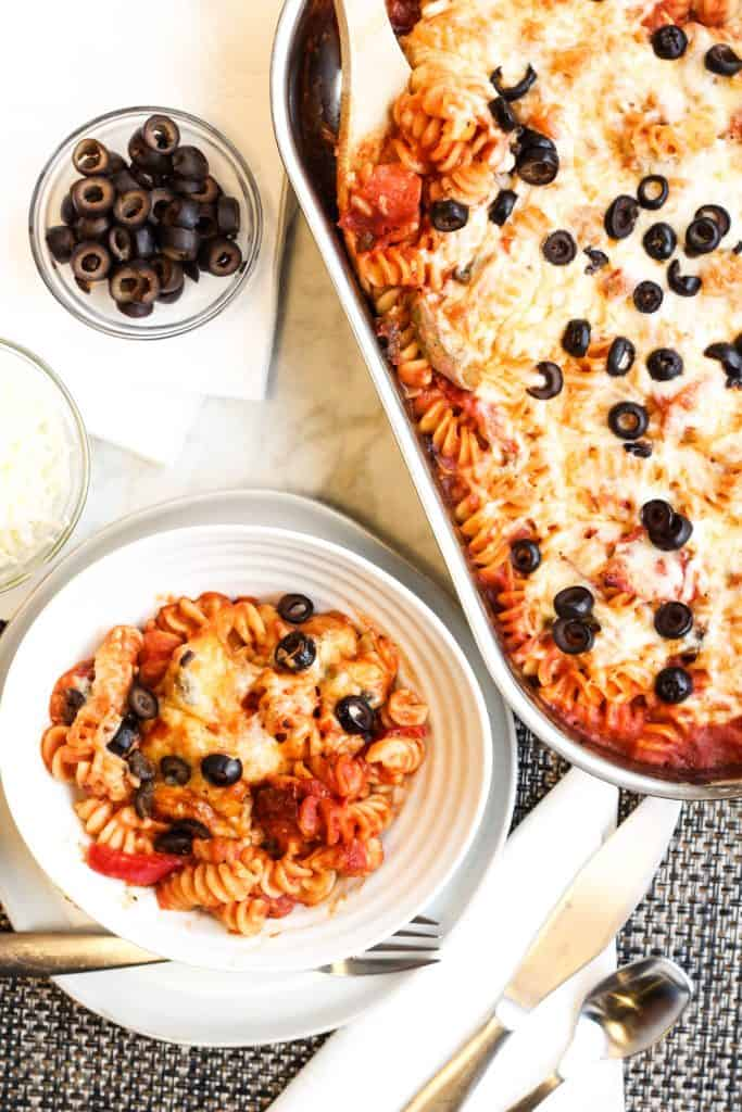 Loaded Pizza Pasta Casserole served on a table