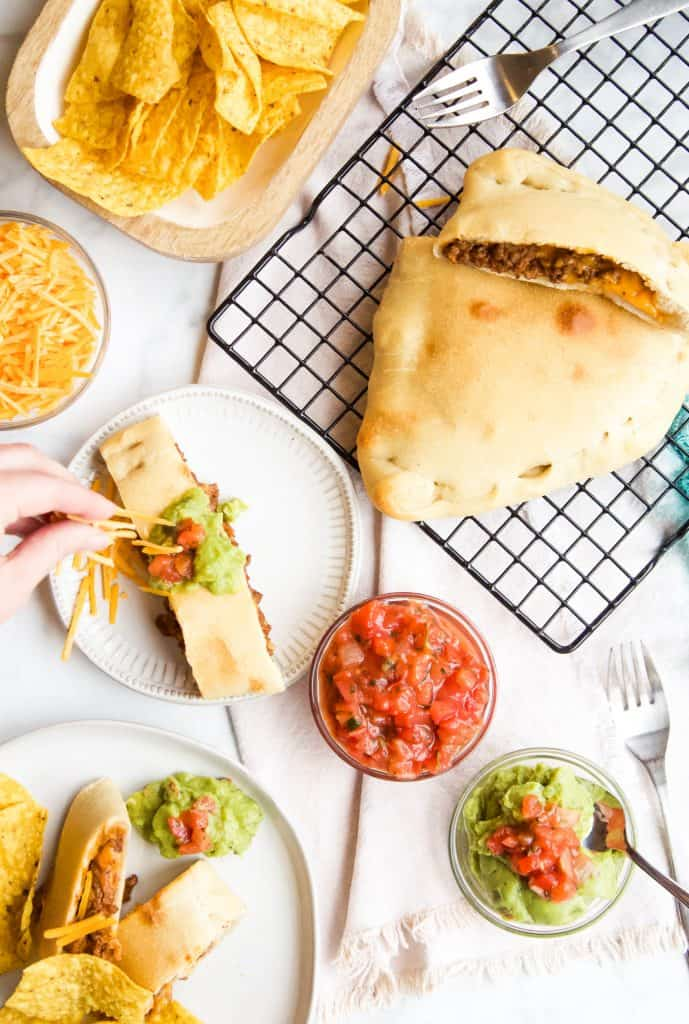 party table with taco calzone