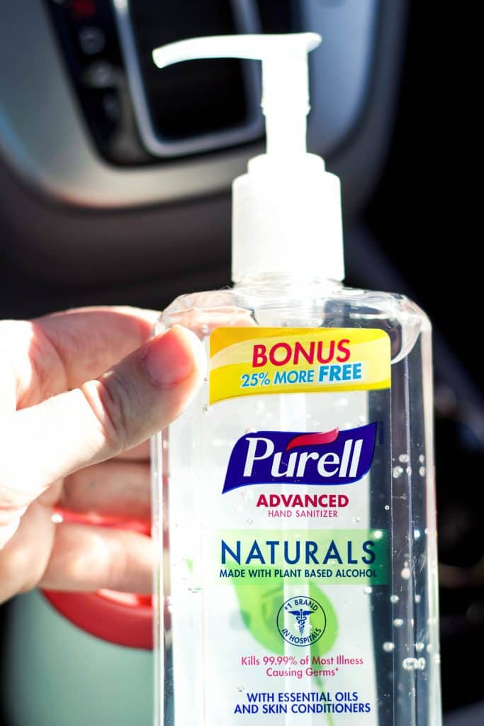 Purell bottle in the car