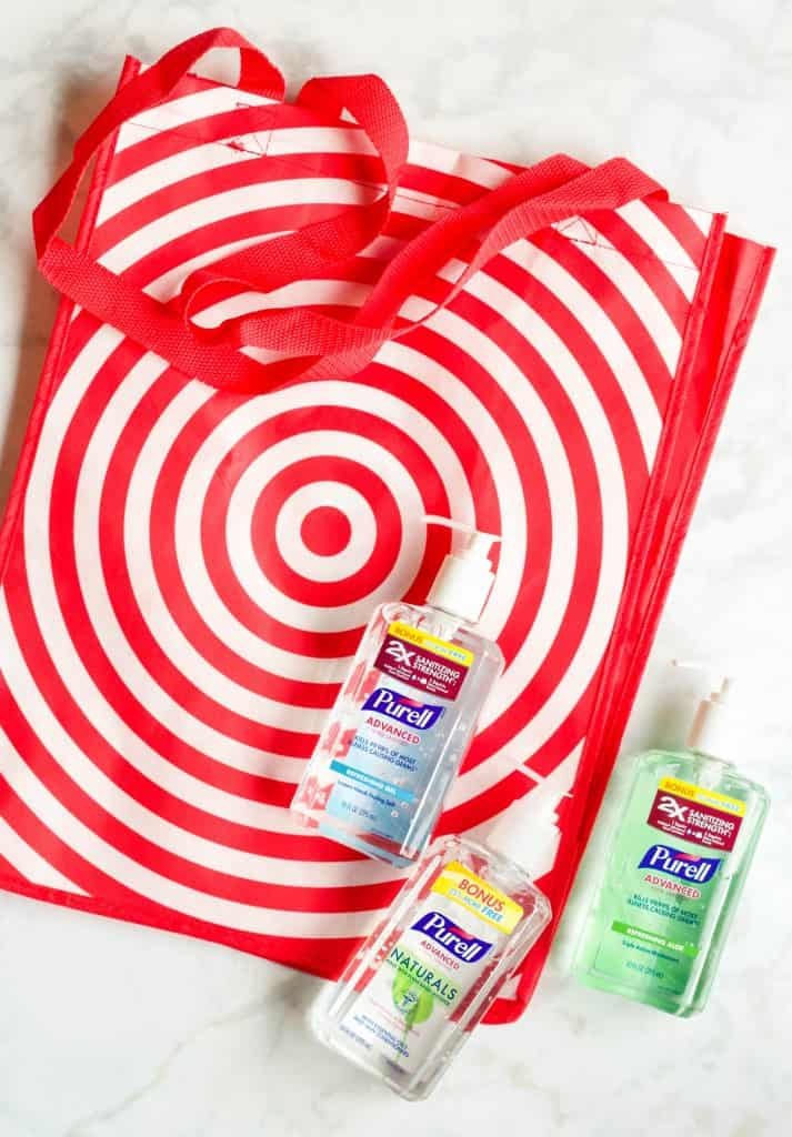 Target reusable bag and Purell bottles