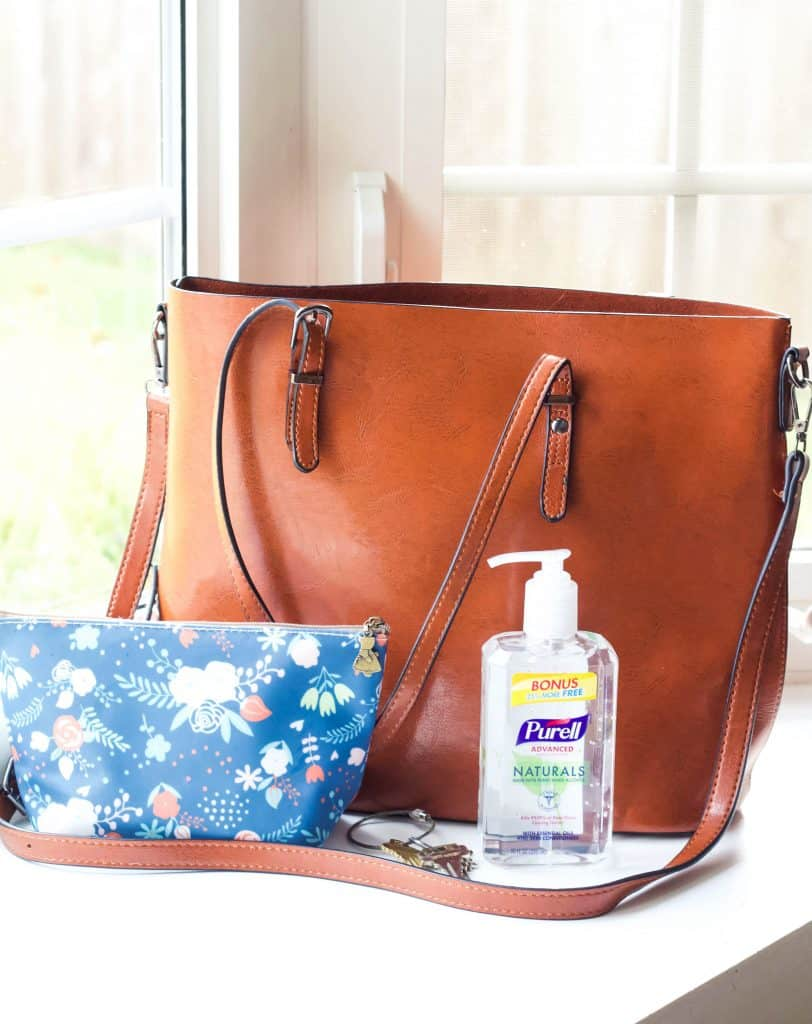 purse with hand sanitizer