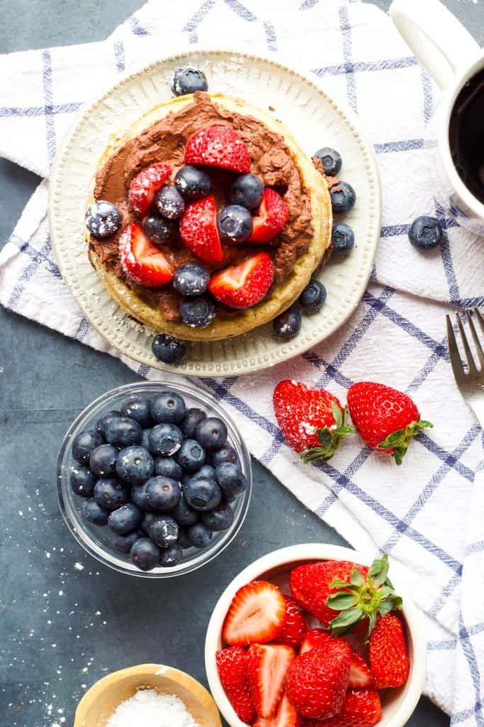 Waffles with Greek Yogurt and mixed berries