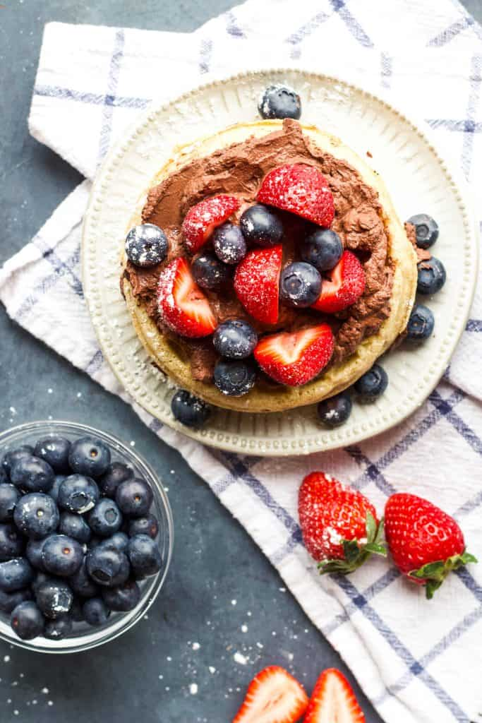 Waffles with chocolate Greek Yogurt and mixed berries