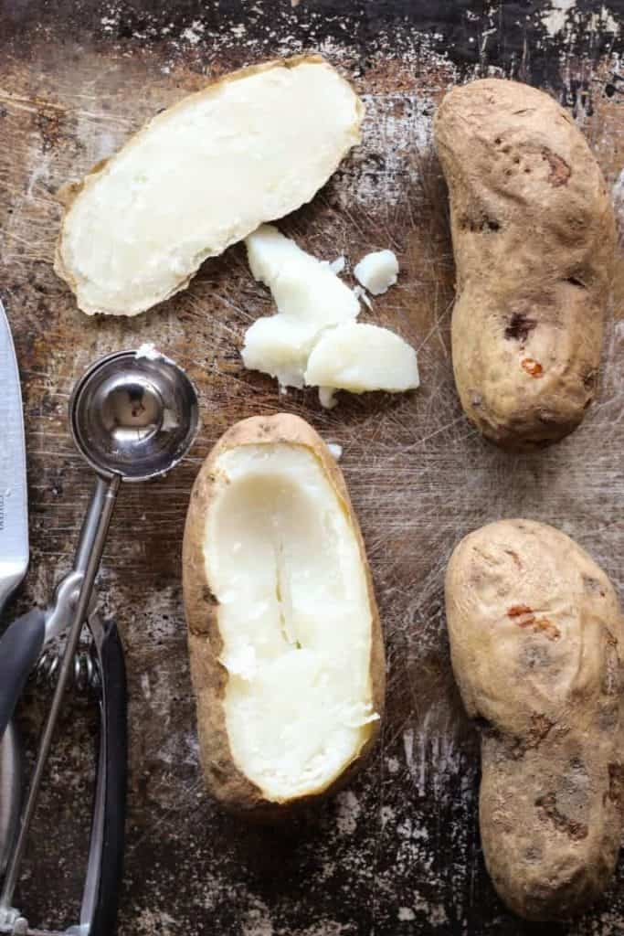 scooped out baked potatoes