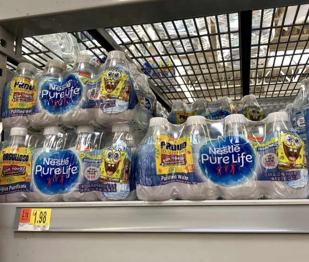 Nestle Pure Life water bottles at Walmart