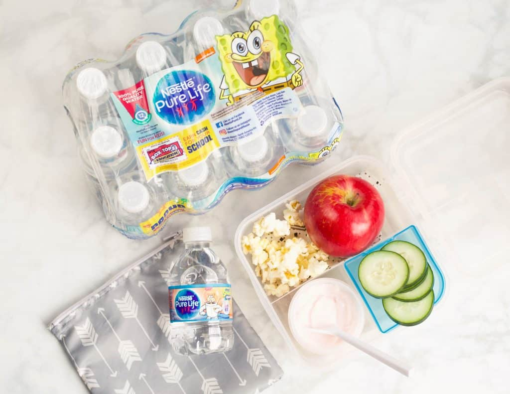 Nestle Pure Life water bottles with school lunch