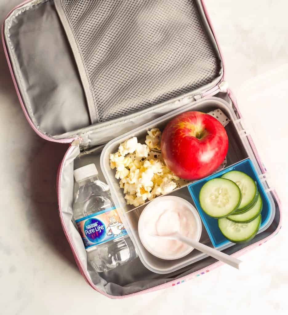 school lunchbox with bottled water