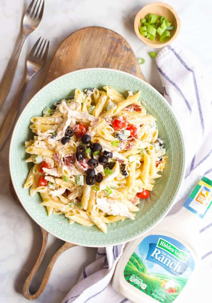 Chicken Bacon Ranch Pasta Salad with Hidden Valley Ranch