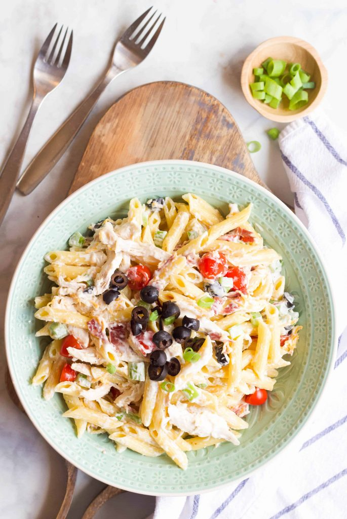 Chicken Bacon Ranch Pasta Salad with chopped black olives and green onions