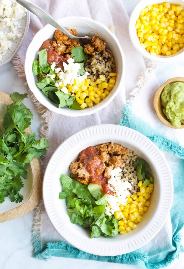 Quinoa Taco Bowls with toppings