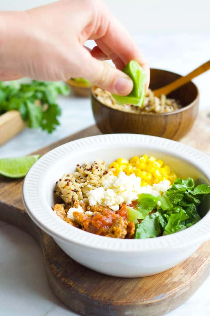 Quinoa Taco Bowl with squeeze of lime