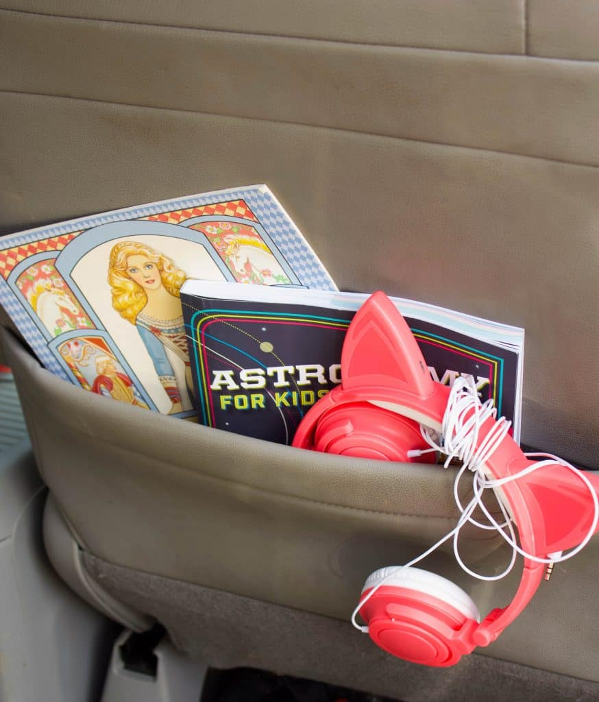 Kid books in car seat pocket