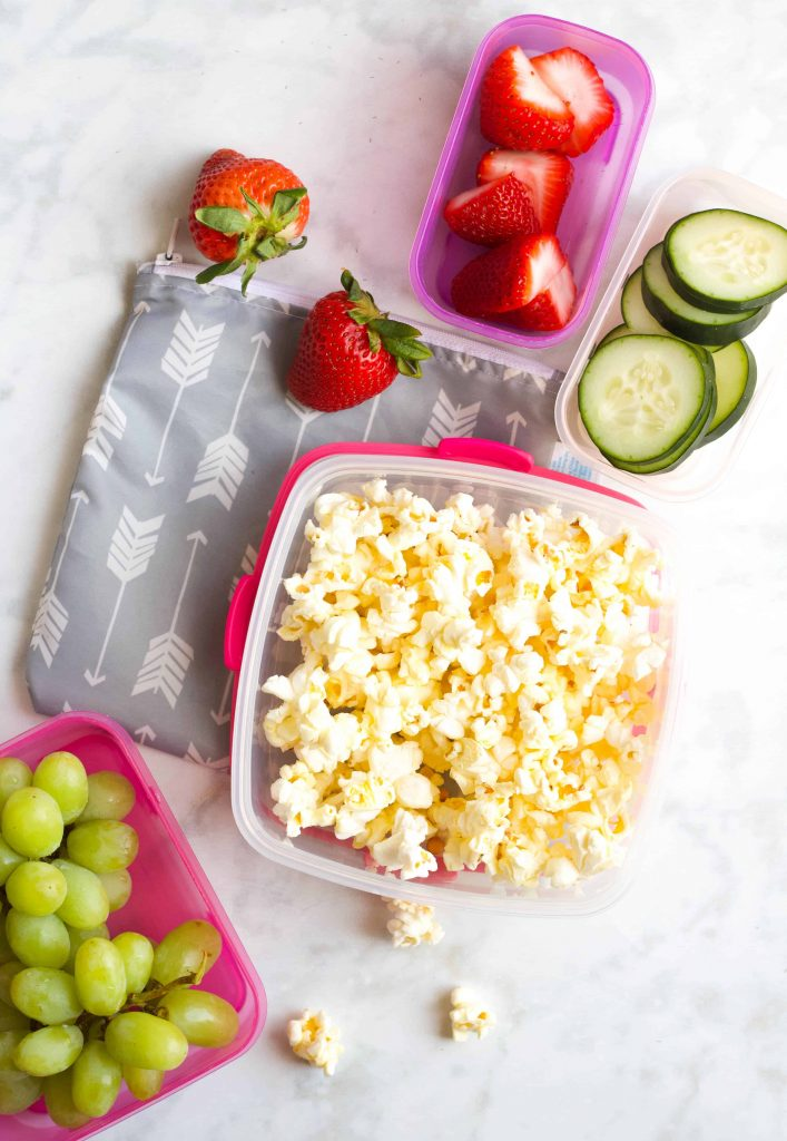road trip snacks in travel containers