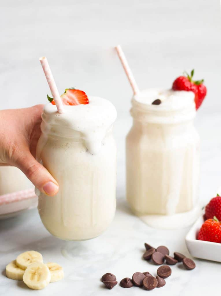 Banana Greek Yogurt Smoothies with fresh fruit topping