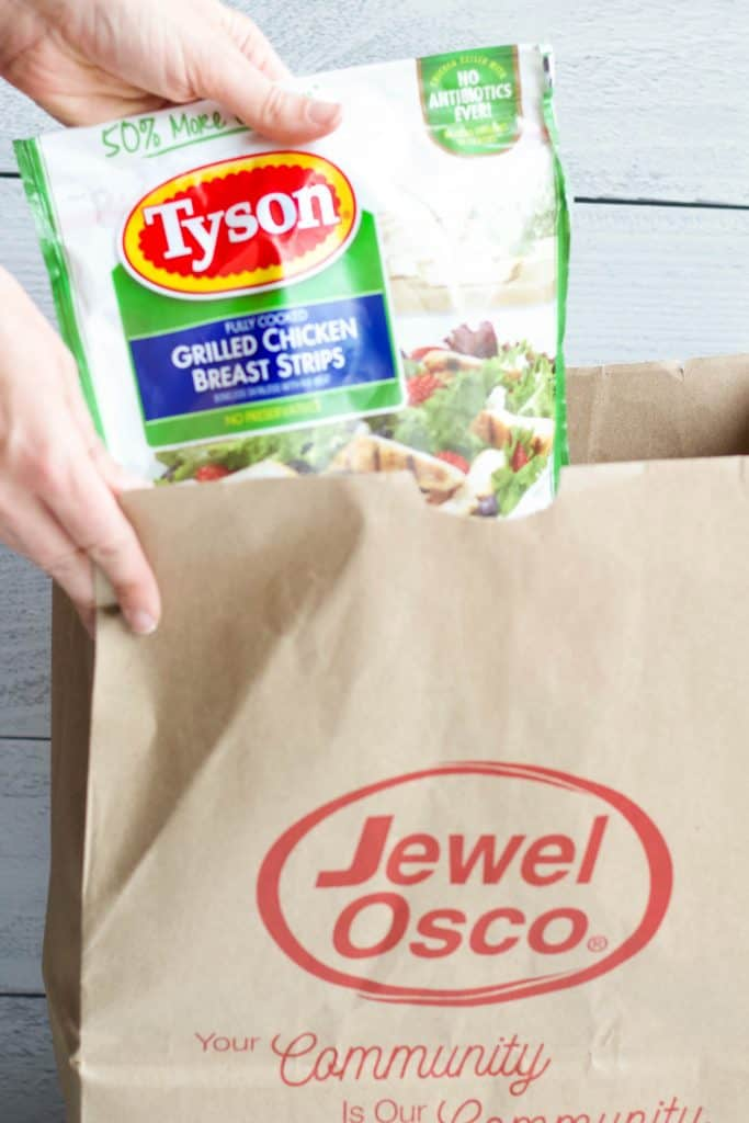 Tyson Grilled Chicken Strips in a Jewel-Osco bag