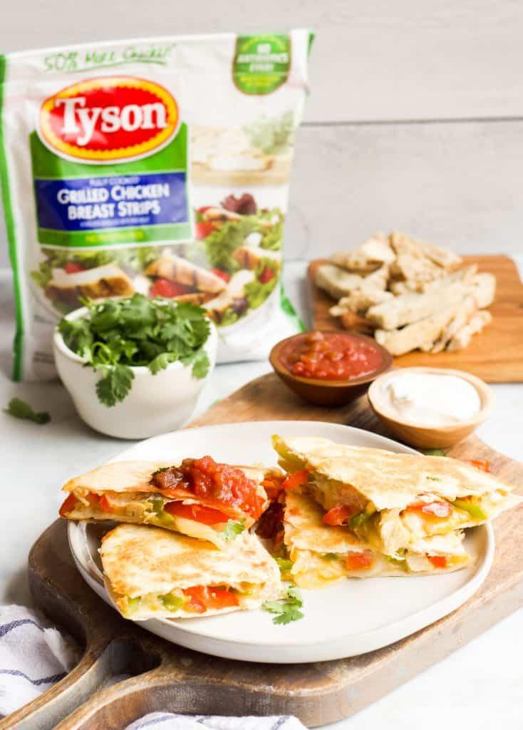 Grilled Chicken Fajita Quesadillas with Tyson chicken strips