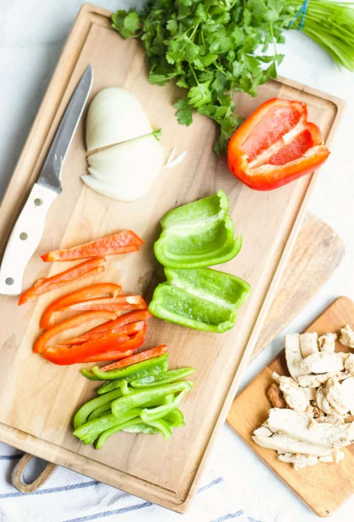 fajita veggies on a cutting board