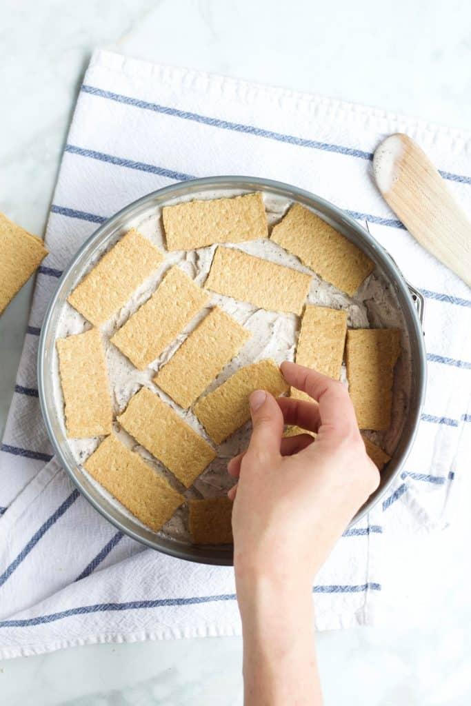 graham cracker layer in an ice cream cake