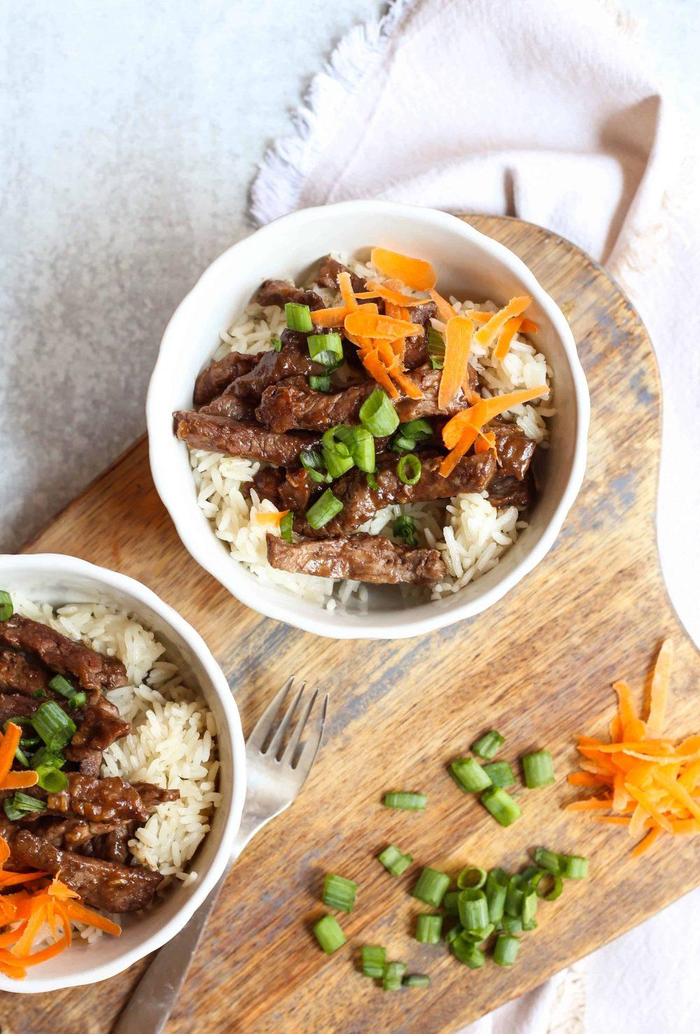 bowls of teriyaki beef