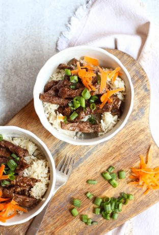 bowls of teriyaki beef