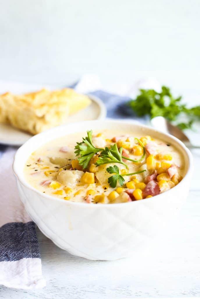 ham and corn chowder in a bowl