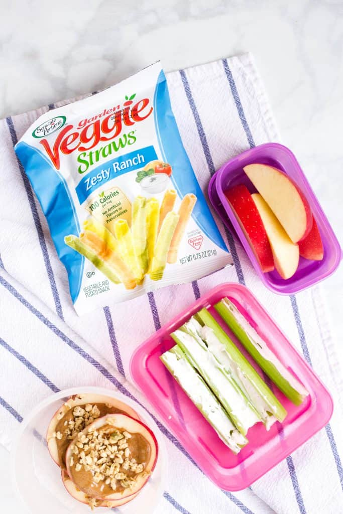 snack ideas for kids with veggie straws, apples and celery